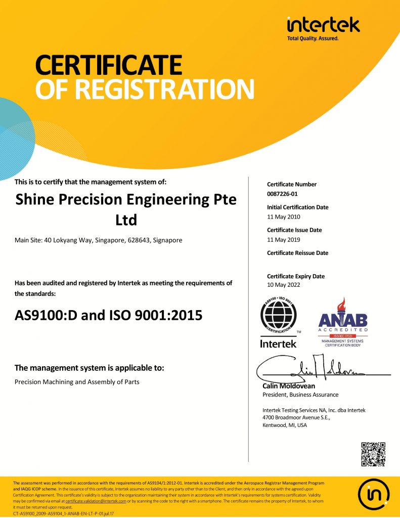 shine-precision-engineering-as9100d-certification